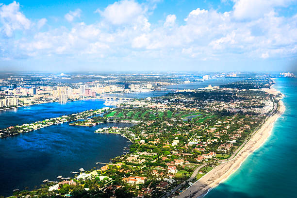 aerial view of Atlantic Ocean and West Palm Beach, Florida stock photo