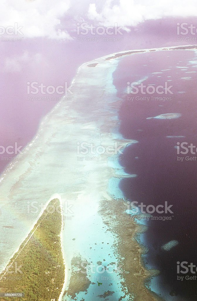 Aerial view of Atoll reefs Marshall Islands Micronesia Pacific Ocean stock photo