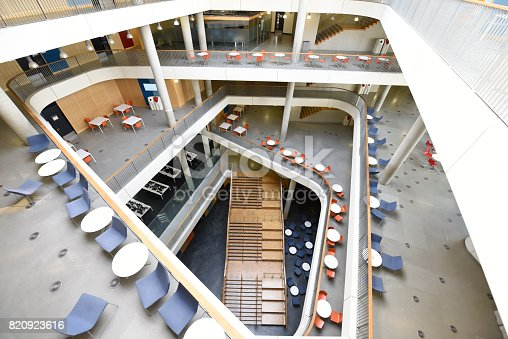 istock Aerial view of atrium and staircase in modern university building 820923616