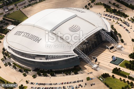 Arlington, TX, United States - May 17, 2016: Aerial view of AT&T Stadium and surrounding area. AT&T logo is seen on top of the stadium with retractable roof. AT&T Stadium is home to the NFL Dallas Cowboys football team.
