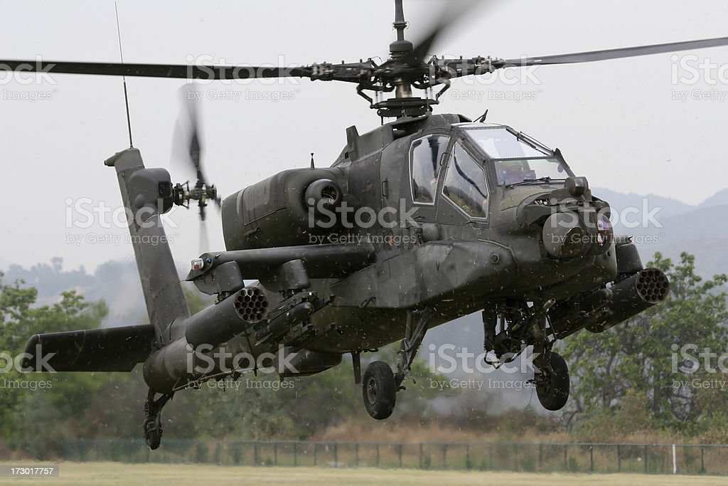 Aerial view of attack helicopter in flight stock photo