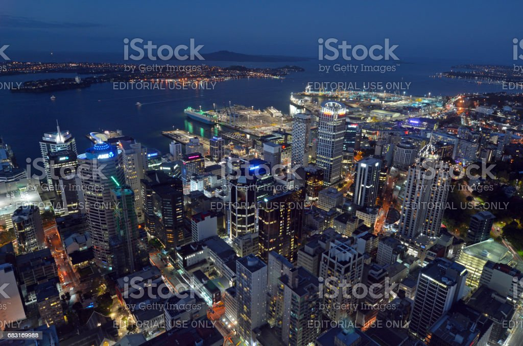 Aerial view of Auckland city central business district with Waitemata Harbour at dusk stock photo