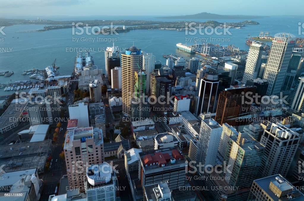 Aerial view of Auckland city central business district with Waitemata Harbour at sunset stock photo