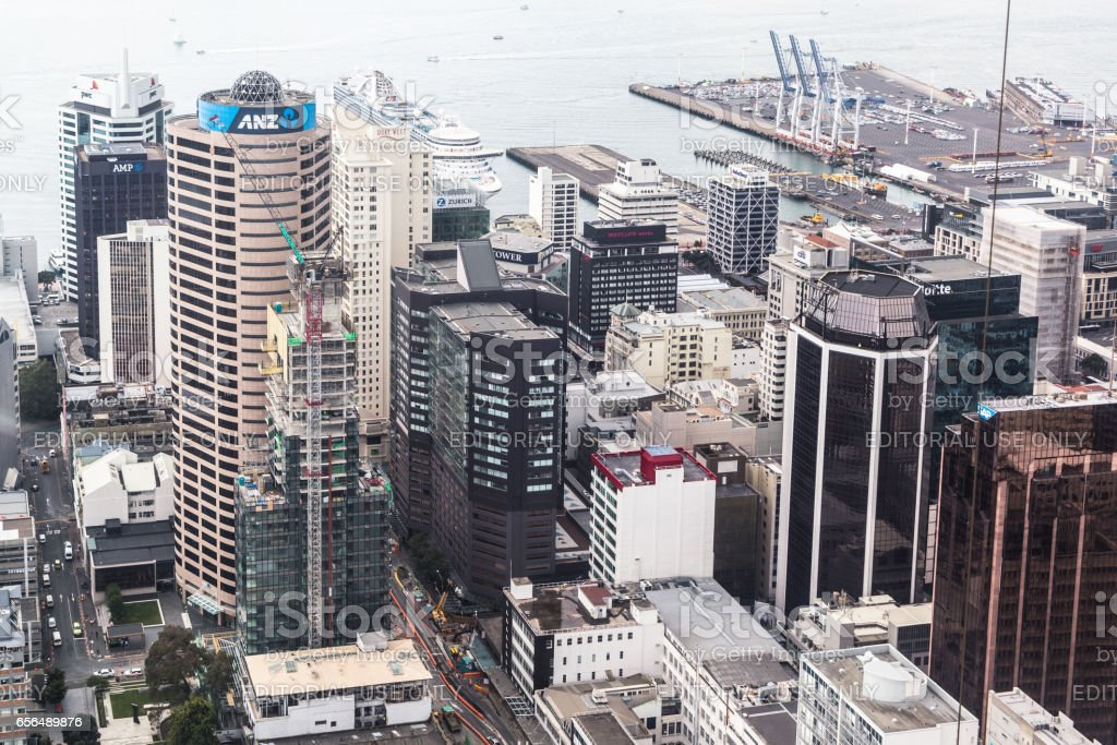 Aerial view of Auckland citybusiness district in New Zealand stock photo