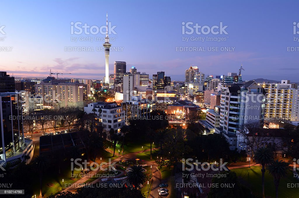 Aerial view of Auckland Financial Center - New Zealand stock photo