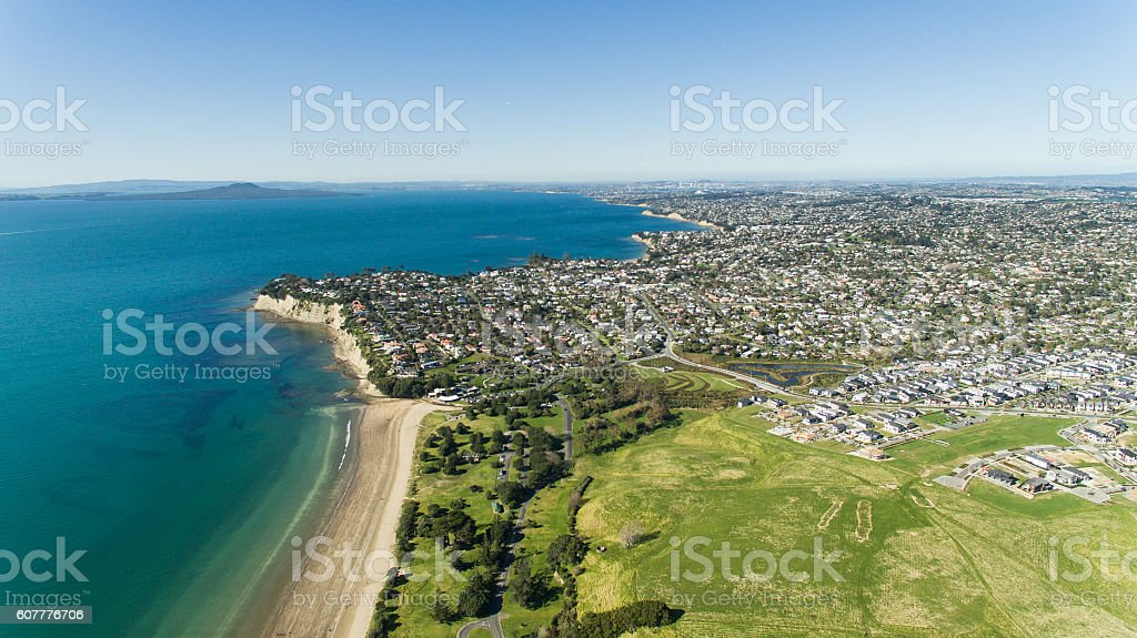 Aerial View of Auckland North Shore. stock photo