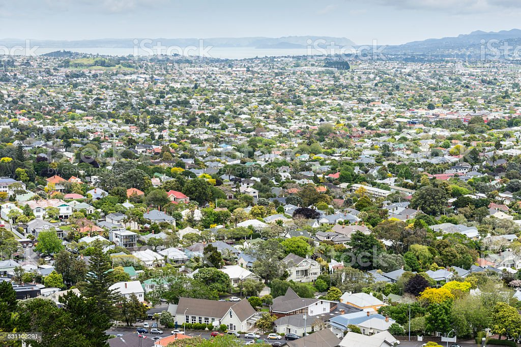 Aerial view of Auckland suburb, New Zealand stock photo