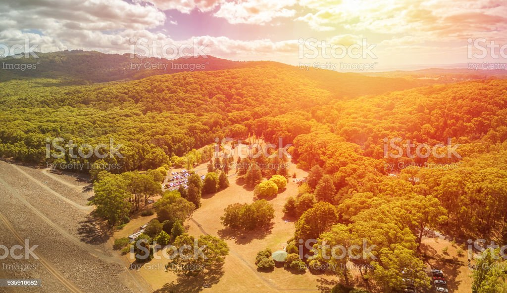 Aerial view of Australian forest and hills - native Australian landscape at sunset stock photo