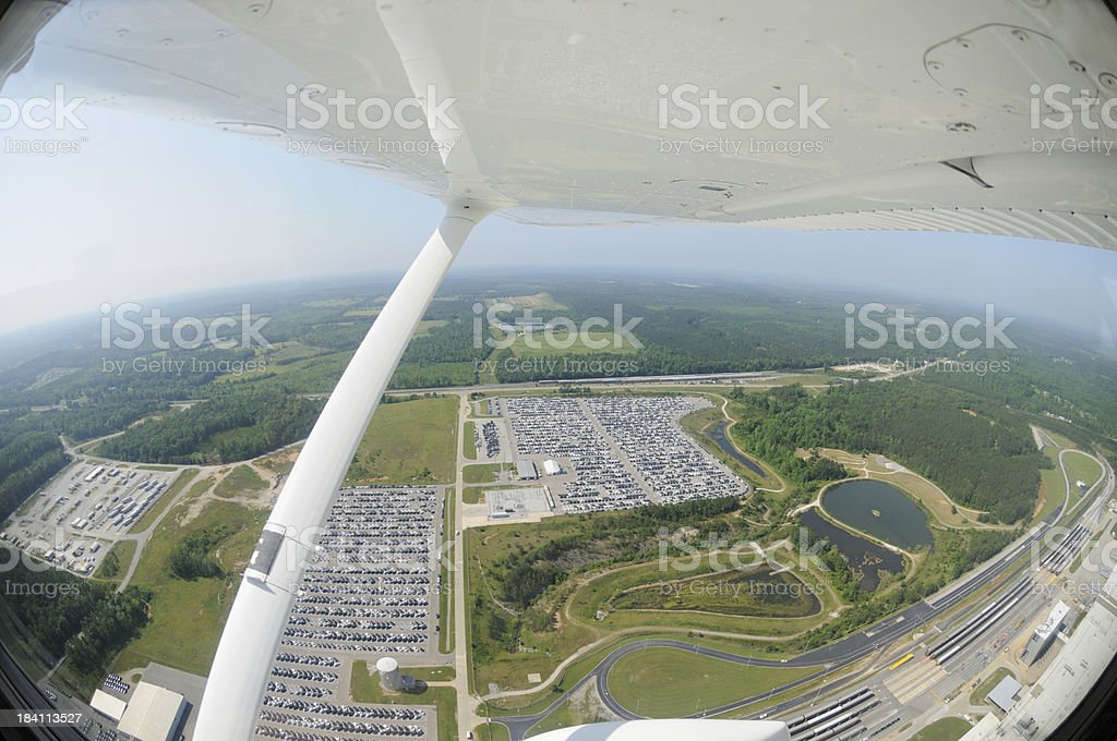 Aerial view of automotive manufacturing facility stock photo
