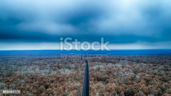istock Aerial view of autumnal forest and highway 889464174
