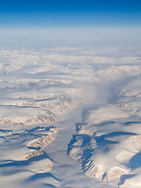 Aerial View of Auyuittuq National Park, Baffin Island, Canada stock photo