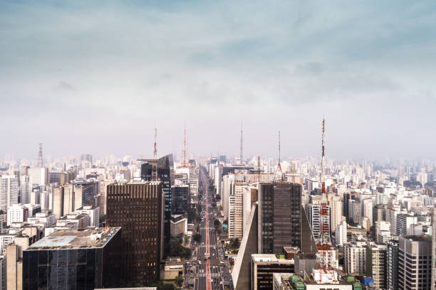 Aerial View of Avenida Paulista, Sao Paulo city, Brazil stock photo