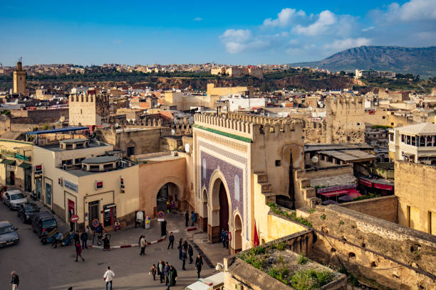 Aerial view of Bab Bou Jeloud gate, Blue Gate in Fez, Morocco stock photo