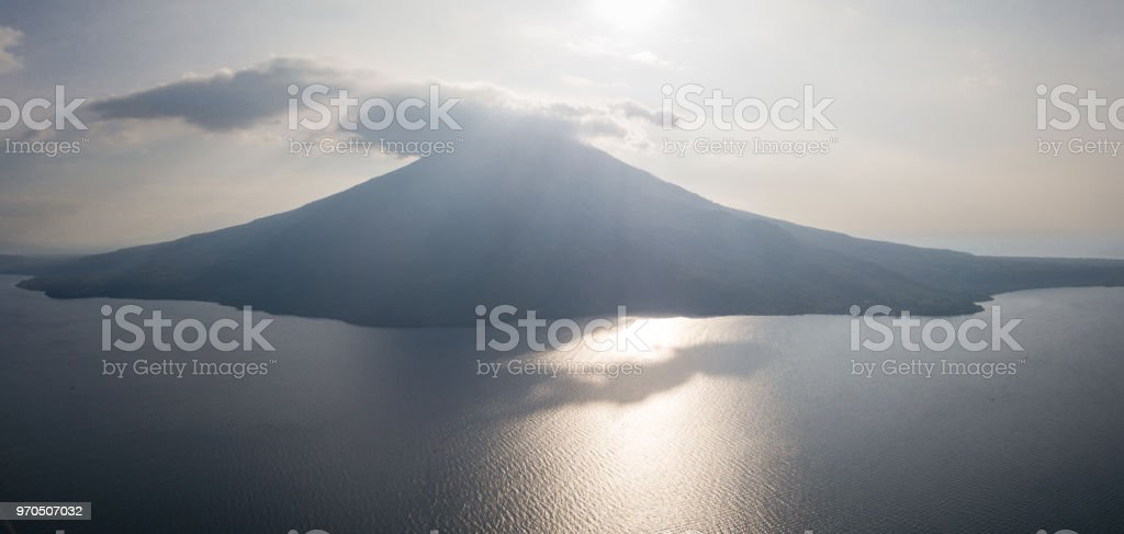 Aerial View of Backlit Volcano stock photo