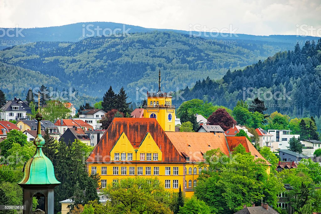 Aerial view of Baden-Baden city and the hills stock photo