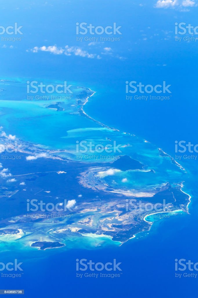 Aerial view of Bahama islands stock photo