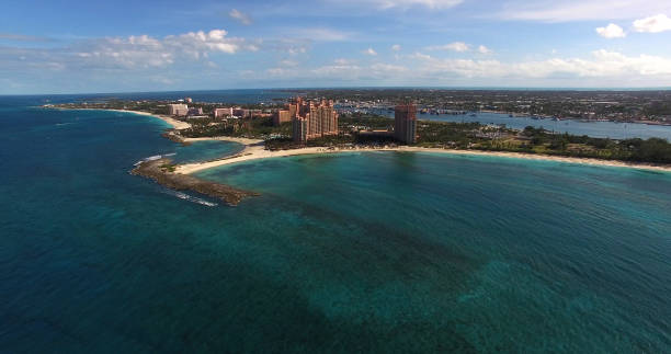Aerial View of Bahamas stock photo
