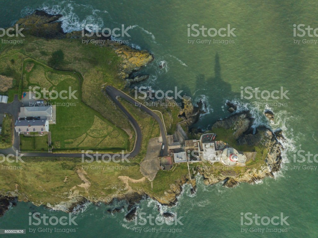 Aerial view of Baily Lighthouse, Howth Head, Dublin, Ireland. stock photo