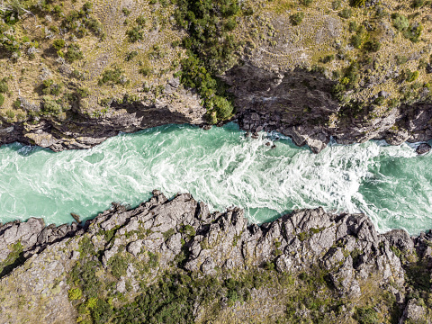 Aerial view of Baker river in the chilean Patagonia, southern Chile