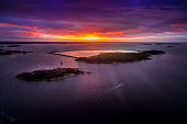 istock Aerial view of Baltic Sea in Sunset 626402708