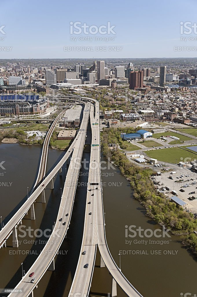 Aerial View of Baltimore Approaching from the South royalty-free stock photo