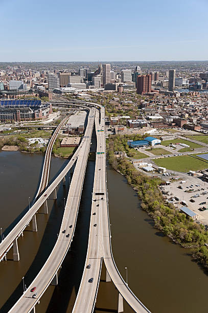 Aerial View of Baltimore Approaching from the South stock photo