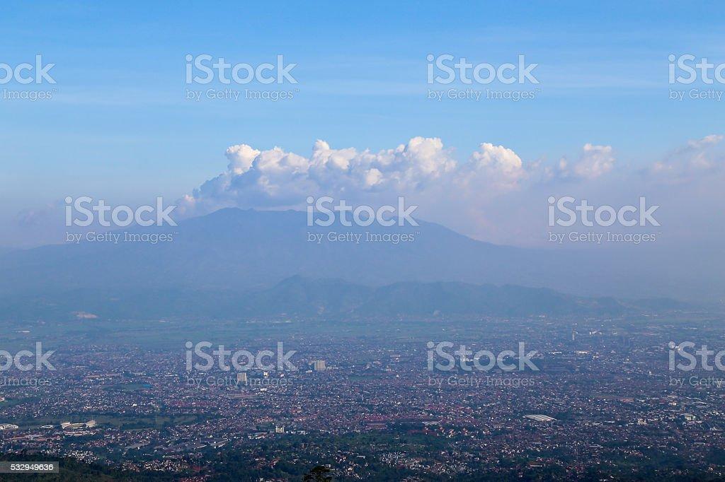Aerial view of Bandung City stock photo