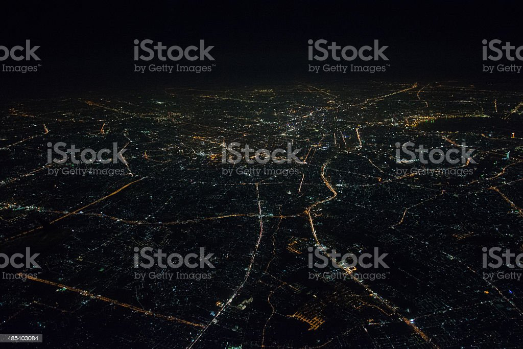 Aerial view of Bangkok at night stock photo