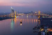 Aerial view of Bangkok city at evening, Chaopraya River, Bangkok, Thailand