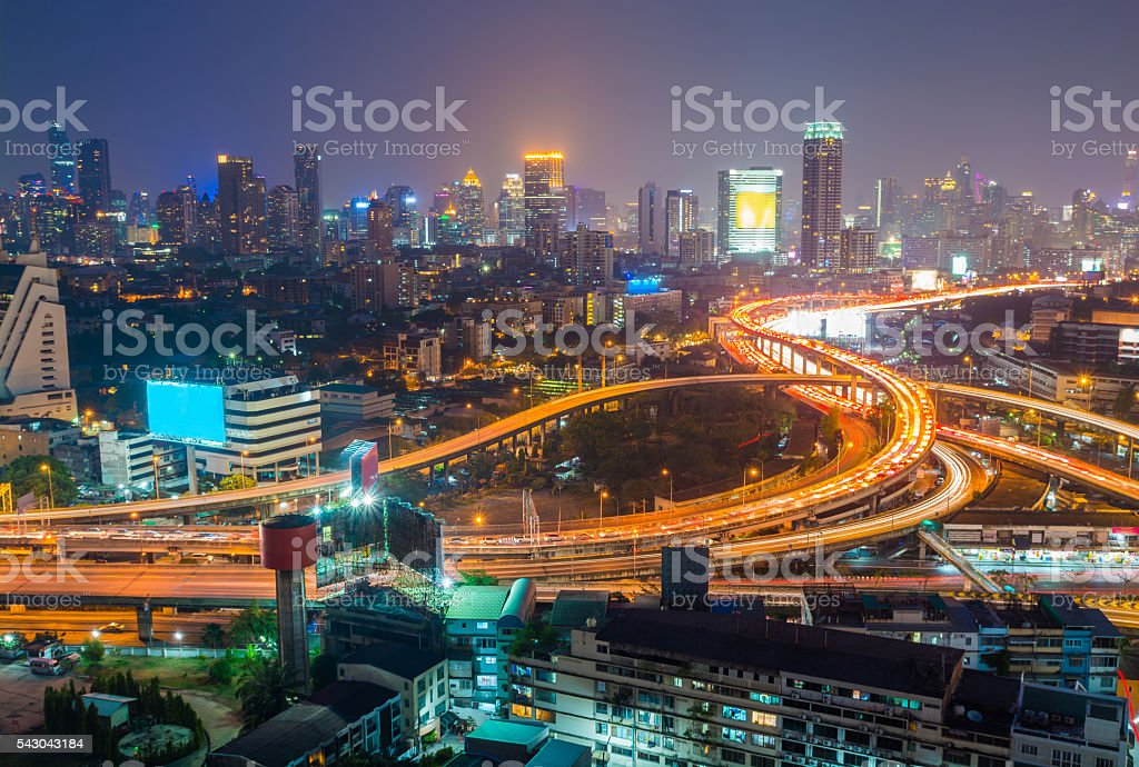 Aerial view of Bangkok city downtown background, highway interch圖像檔