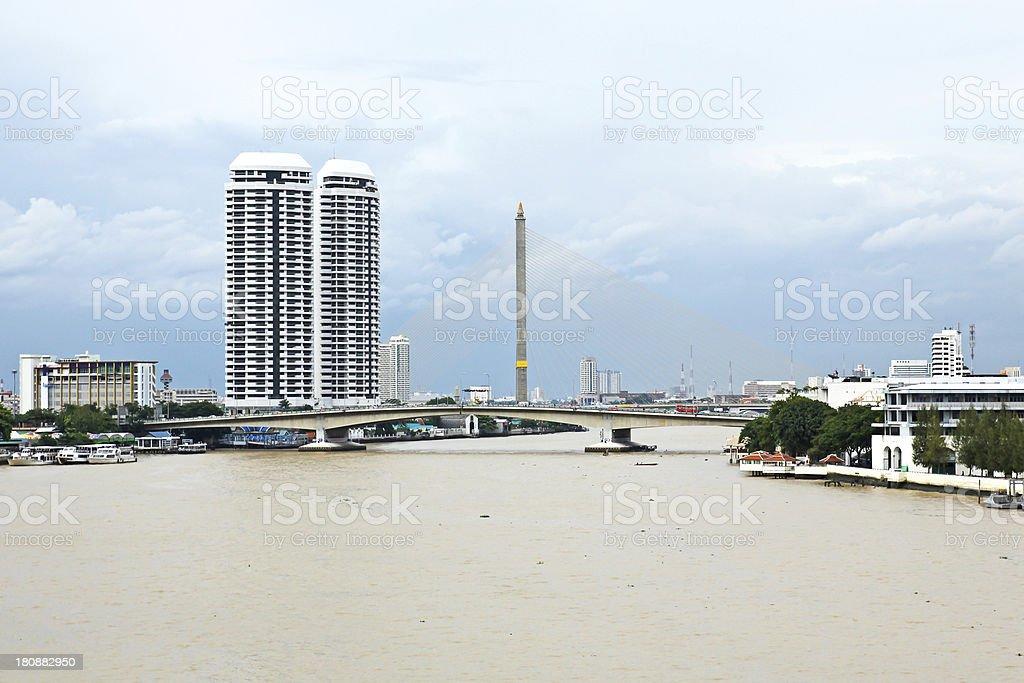 Aerial view of Bangkok city with Chao Phraya river royalty-free stock photo