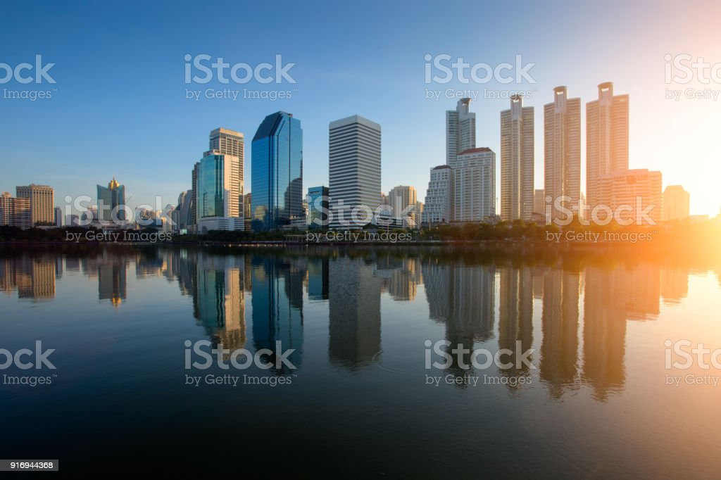 Aerial view of Bangkok modern office buildings, condominium, living place in Bangkok city downtown with sunset scenery, Bangkok is the most populated city in Southeast Asia.Bangkok , Thailand stock photo
