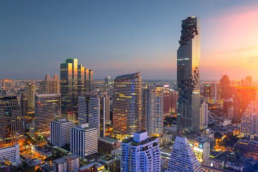 istock Aerial view of Bangkok modern office buildings, condominium 588618834