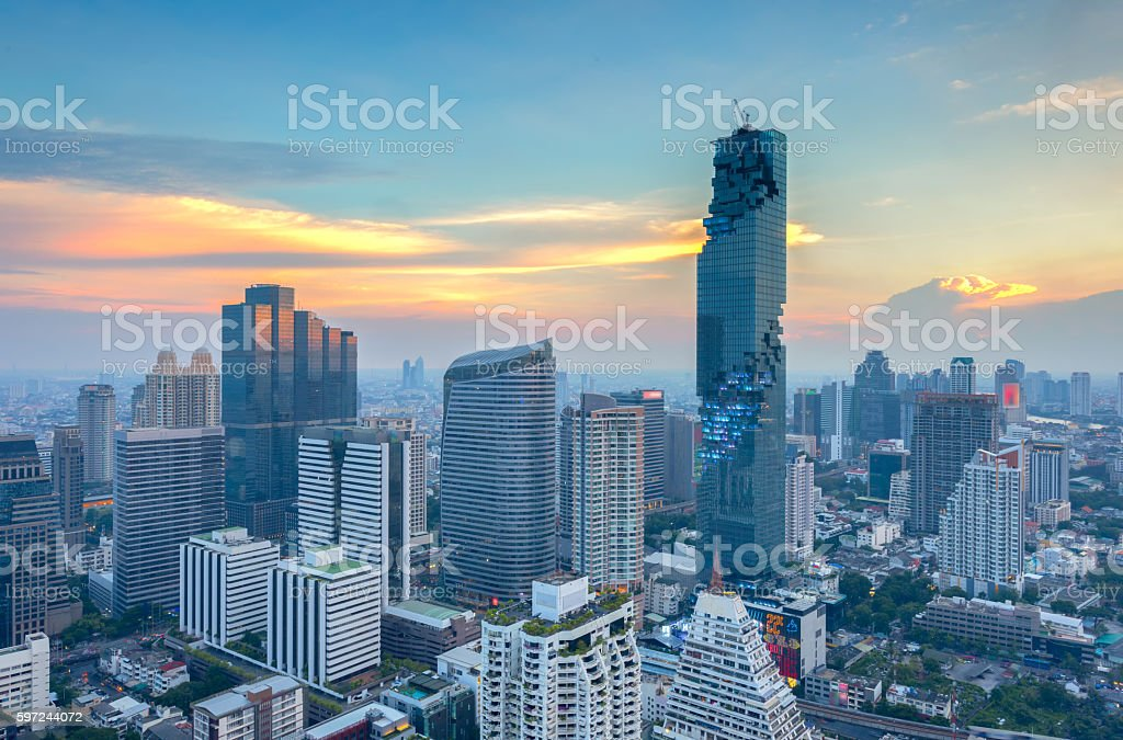Aerial view of Bangkok modern office buildings, condominium stock photo