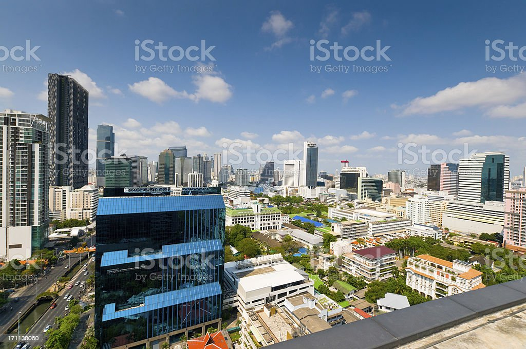 Aerial view of Bangkok Skyline royalty-free stock photo