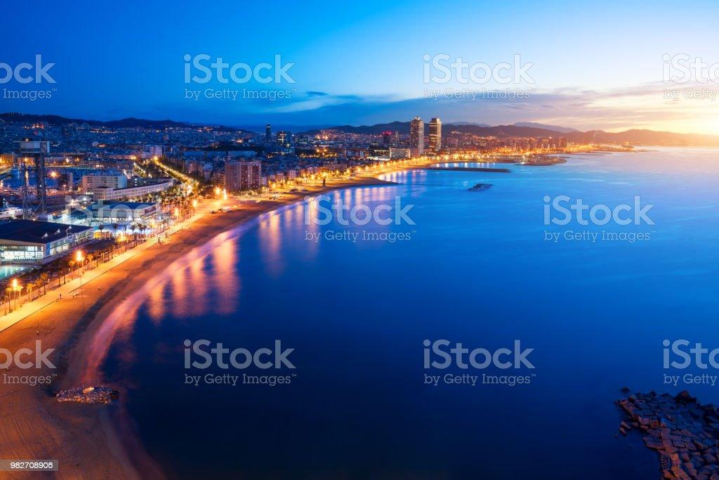 Aerial view of Barcelona Beach in summer night along seaside in Barcelona, Spain. Mediterranean Sea in Spain. stock photo