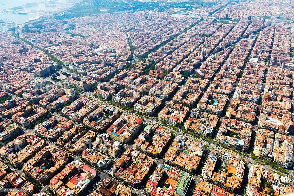 Vista aérea de Barcelona, Cataluña - foto de stock