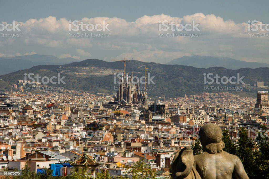 Aerial view of Barcelona city in Spain in springtime stock photo