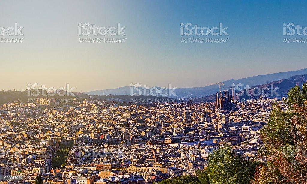 Aerial view of Barcelona city in Spain in summertime - foto de stock