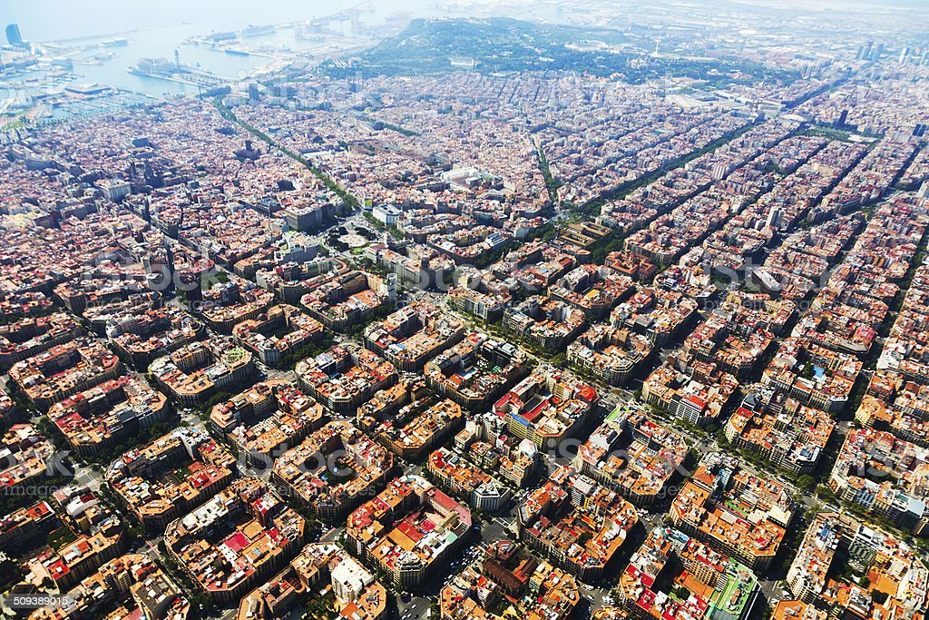 Aerial view of Barcelona cityscape from helicopter stock photo