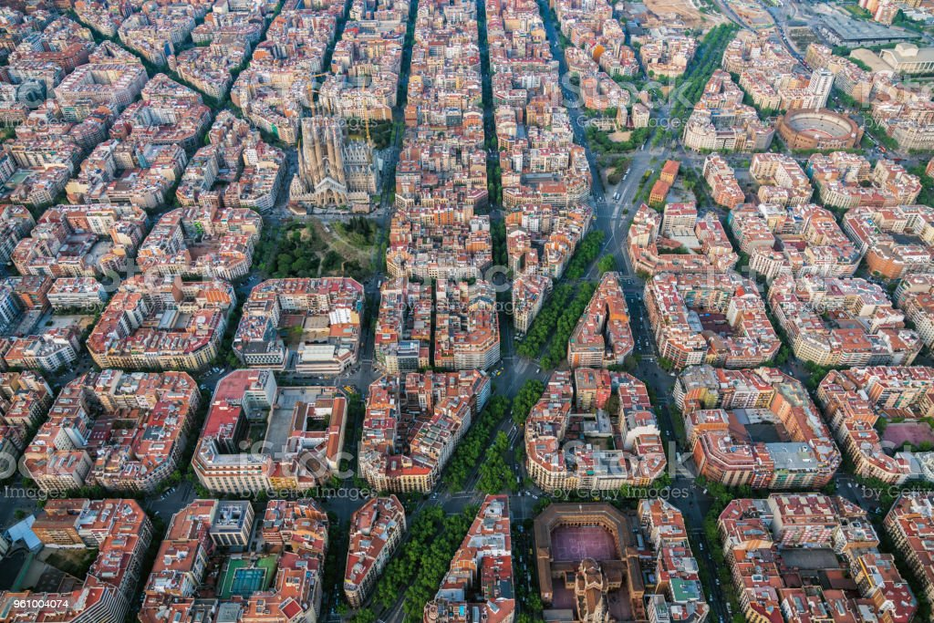 Aerial View Of Barcelona Eixample Residencial District With Famous