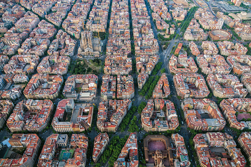 Aerial view of Barcelona Eixample residencial district with famous urban grid, Spain