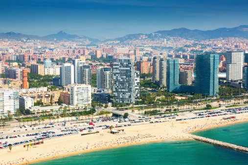 Aerial view of Barcelona from Mediterranean coast