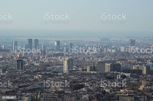aerial view of barcelona from the top of montjuic castle.