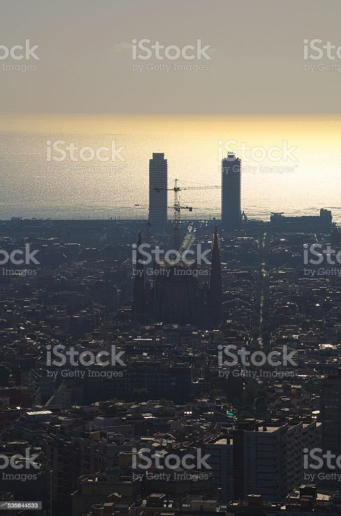 aerial view of barcelona from the top of montjuic castle. stock photo