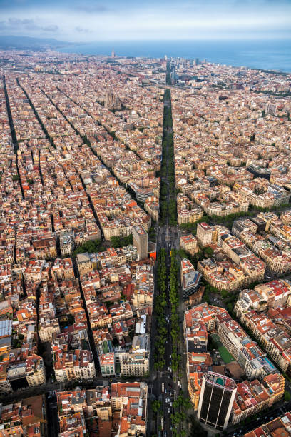 Aerial view of Barcelona main street and city skyline, Spain stock photo