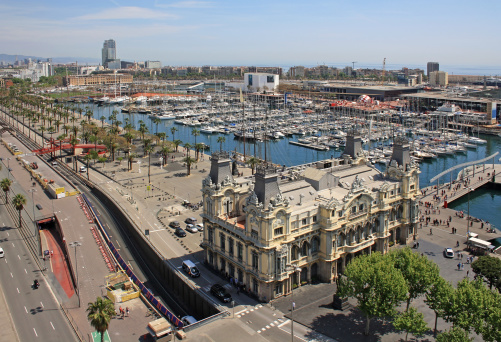 Aerial view of Barcelona port