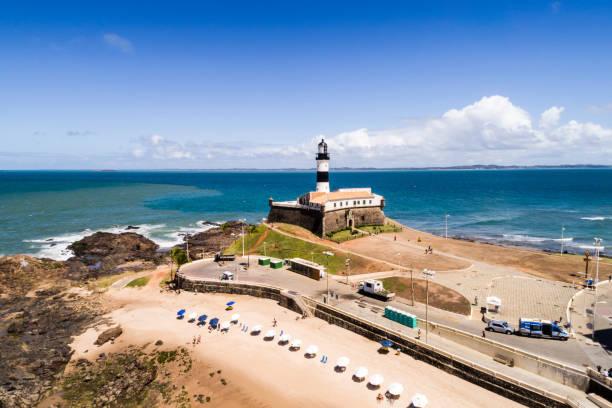 vista aérea da praia da barra de salvador, na bahia, brasil - nordeste - fotografias e filmes do acervo
