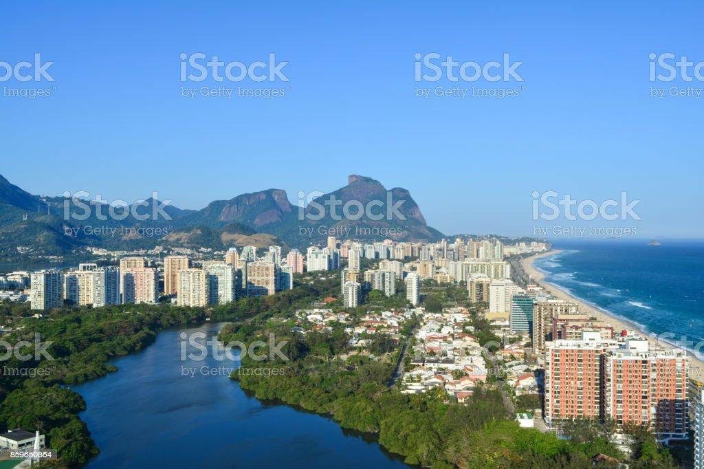 Aerial view of Barra da Tijuca, Rio de Janeiro stock photo