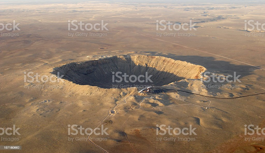 Aerial view of Barringer crater (meteor impact) in Arizona stock photo
